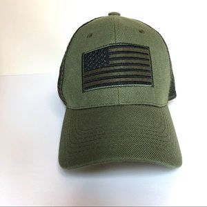 Army Green American Flag Trucker Hat